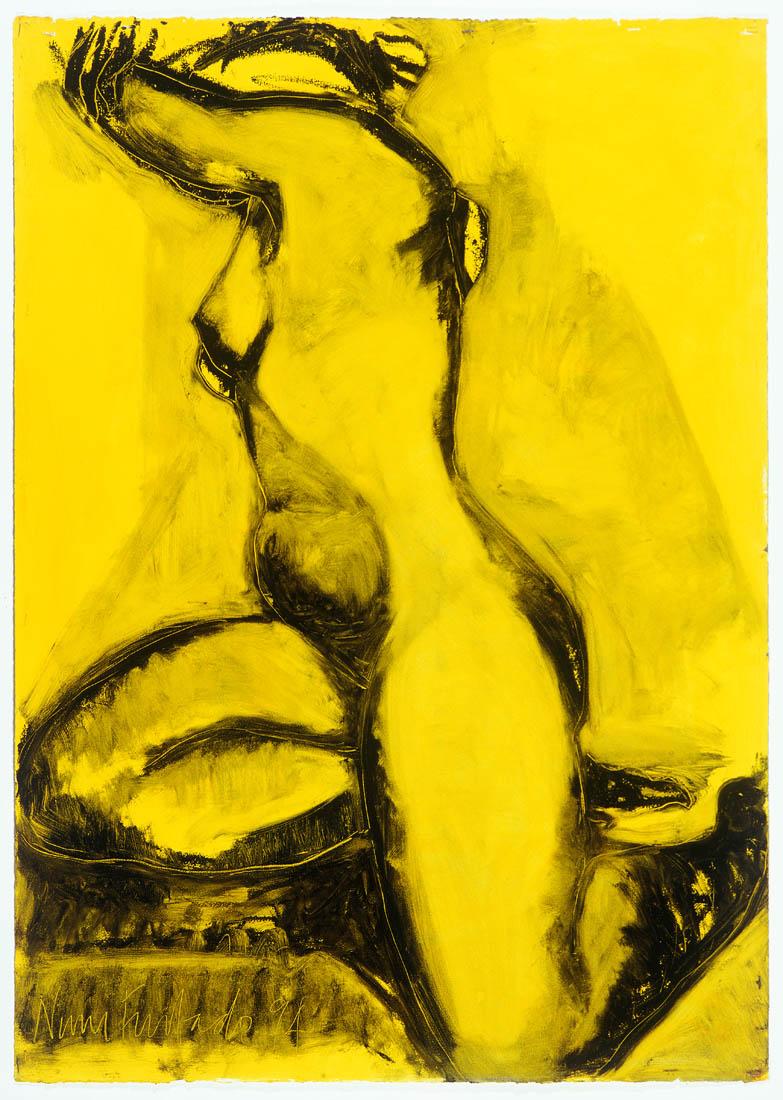 Nimi Furtado   Limited Edition Prints   Black on Yellow nude