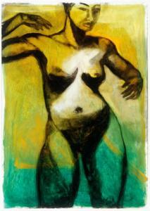 Nimi Furtado | Limited Edition Prints | Black on Green nude